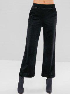 Velvet Wide Leg Pants With Pockets - Black M