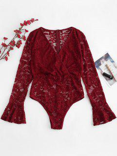 Surplice Plunge Lace Sheer Bodysuit - Red Wine L