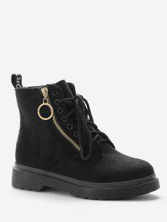 Retro Lace Up Suede Short Boots - Black Eu 36
