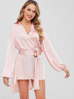 V Neck Slit High Low Longline Top - Light Pink L