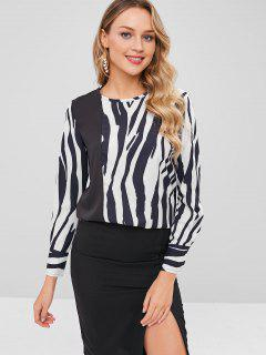 Contrast Irregular Striped Blouse - Multi L