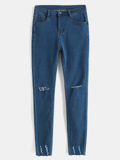 Raw Hem Distressed Skinny Jeans - Lapis Blue L