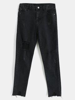 Distressed Raw Hem Skinny Jeans - Black M