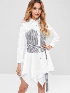 Belted Handkerchief Striped Shirt Dress - White Xl