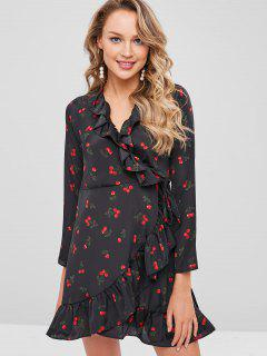Cherry Print Ruffles Wrap Dress - Black S