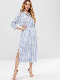 Striped Midi Slit Shirt Dress - Multi L