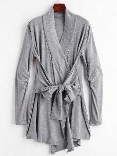 Cinched Tie Front Coat - Dark Gray M