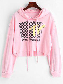 TV Graphic Cropped Hoodie - Pig Pink L