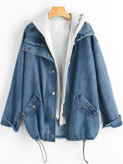 Button Up Denim Jacket And Hooded Vest - Denim Dark Blue Xl