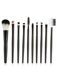 Beauty 10Pcs Ultra Soft Eyeshadow Eyebrow Blending Makeup Brush Set - Black