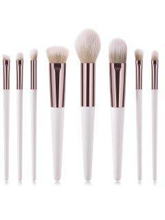 Cosmetic 8Pcs Portable Ultra Soft Fiber Hair Travel Makeup Brush Suit - Natural White