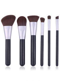 Portable 6Pcs Wooden Handles Cosmetic Travel Brush Set - Black Regular