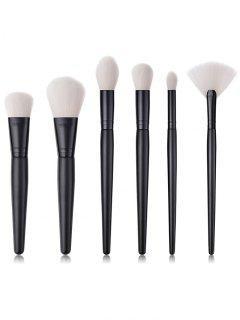 6Pcs Cosmetic Wooden Handles Blush Eyeshadow Powder Fan Brush Set - Black Regular