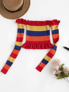 Bunter Gestreifter Frilled Cropped Sweater - Multi