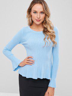 Bell Sleeve Plain Sweater - Day Sky Blue