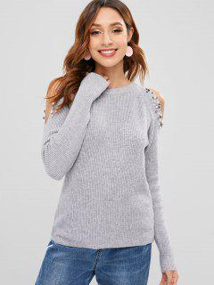 Cold Shoulder Sweater With Beads - Gray