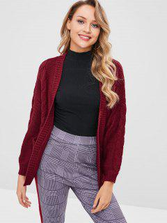 Cable Knit Open Front Cardigan With Pockets - Red Wine