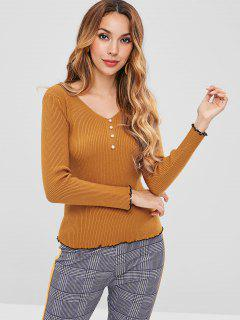 Beaded Ribbed Knitted Top - Bee Yellow