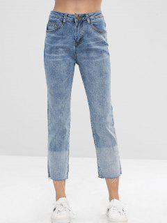 Frayed Hem Straight Jeans - Jeans Blue L