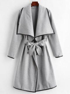 Contrasting Piping Shawl Collar Wrap Coat - Gray M