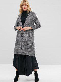 One Button Houndstooth Checked Tweed Coat - Multi L