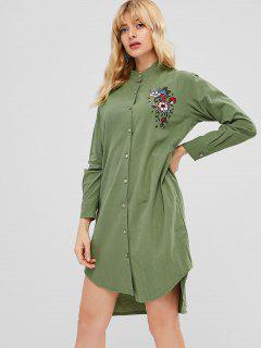 Embroidered Long Sleeve Asymmetric Shirt Dress - Army Green