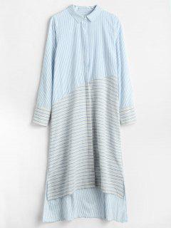 High Low Midi Striped Shirt Dress - Light Blue L