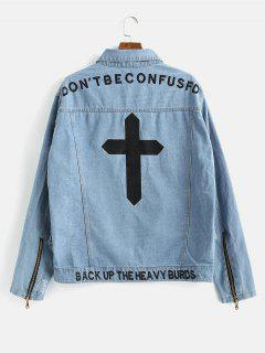 Cross Embroidered Ripped Denim Coat - Jeans Blue M