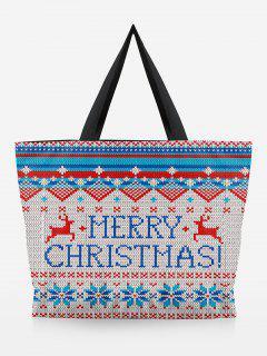Deer Print Christmas Handbag - Warm White
