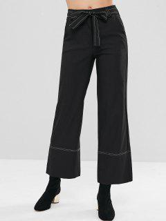 Belted High Waist Wide Leg Pants - Black S