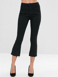 Frayed Hem Boot Cut Pants - Black Xl