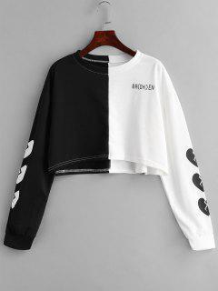 Color Block Letter Heart Sweatshirt - Multi L