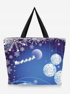 Tree Print Christmas Handbag - Denim Blue