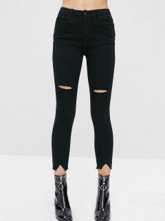 Ripped Frayed Hem Capri Pants - Black M