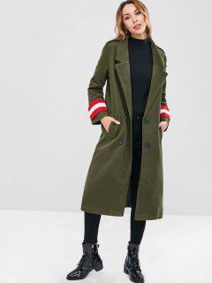Revers Einreiher Langer Mantel - Armeegrün M
