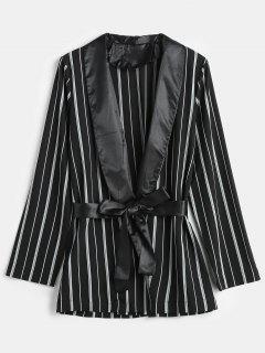 Striped Shawl Collar Tunic Blazer - Black L