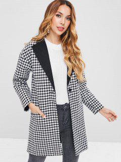 Lapel Houndstooth One Button Coat - Black L