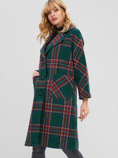 Button Up Plaid Wool Blend Coat - Multi Xl