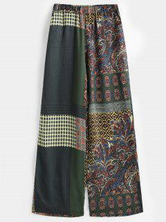 Patchwork Print Satin Wide Leg Pants - Multi L