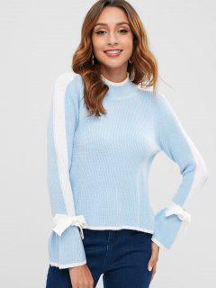 Color Block Bowknot Bell Sleeve Sweater - Light Sky Blue