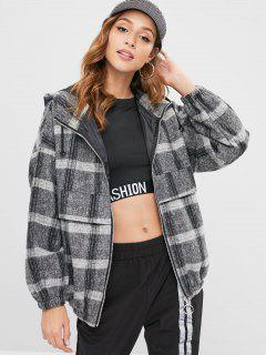 Checked Hooded Coat - Multi