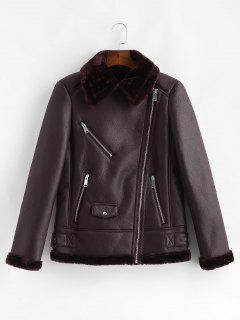 Zip Up PU Leather Sheepskin Coat - Dull Purple L