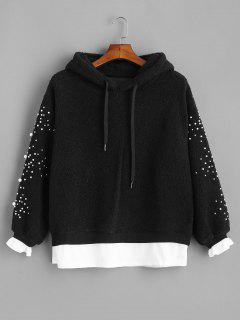 Faux Pearl Beaded Textured Borg Hoodie - Black M