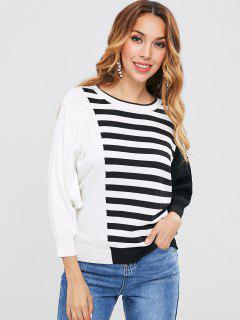 Patchwork Striped Batwing Sweater - Multi