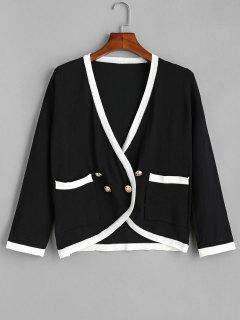Contrast Trim Double Breasted Cardigan - Black