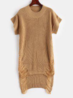 Distressed High Low Tunic Sweater - Camel Brown