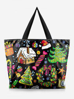 Tree Print Christmas Handbag - Black
