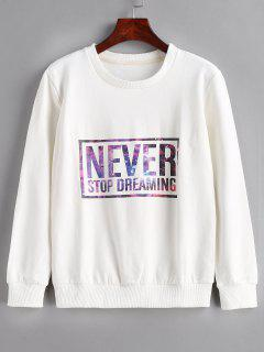 Letter Print Pullover Sweatshirt - White L