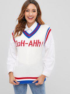 Letter Striped V Neck Sweater Vest - White
