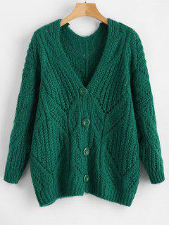Chunky Button Up Cardigan - Clover Green